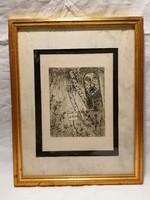 Wooden face etched framed