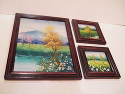Kis festett fali tájképek keretezve 3 db