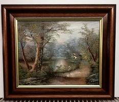 Jelzett gyönyörű tájkép Flamand műhelyből ( km.28 x 33, olaj )