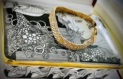 Aranyozott tricolor ezüst karkötő