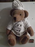 Teddy bear - chef - 52 x 28 cm - sewn nose - exclusive - German - dress linen