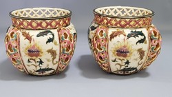Antique zsolnay Persian pattern in pairs with openwork pots