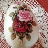 Hollóházi rózsás tojás alakú bombonier