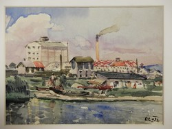 GUARD. Signposted: riverside town, watercolor