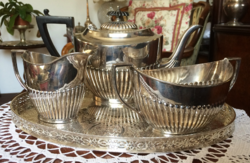 True English elegance, antique silver-plated specialty from the 1910s, tea, coffee service set