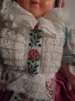 Baby - 30 x 14 cm - old - hand made dress - in a showcase - nice condition