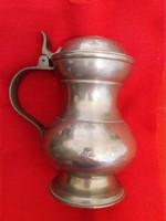 Szinte antik szecesszíós fém fedeles ón korsó kupa a  képek szerint