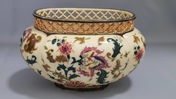 Antique zsolnay Persian patterned pot with openwork top
