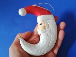 Holdsarló alakú Mikulás fej karácsonyfadísz