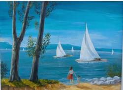 Blue Lake Balaton with sailboats (78.5x58.5 cm)
