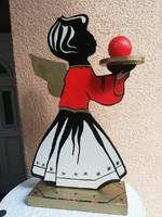 Retro wooden figural angel candle holder 30 cm