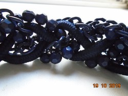 Handmade dark blue faceted glass beads, chains, cord spectacular necklace