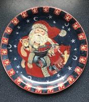 Karácsonyi tálaló tál Mikulással nagy méretű