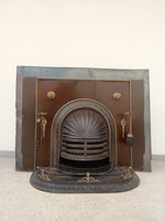 Antique stove with raised grate fireplace frame and insert
