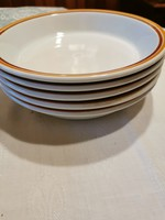5 db Alföldi porcelán főzelékes tányér barna csíkos