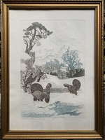 Etching collectors attention !! László Tuka hunter etching from 1 ft