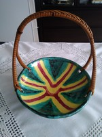 Retro wicker handle colored ceramic serving bowl with colonial signature!