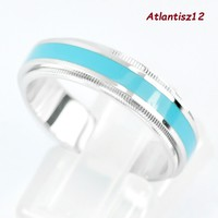 Extra curiosity! Genuine 925 sterling unisex silver ring with 2in1 fire enamel strip 4.43g !! (20.6Mm)