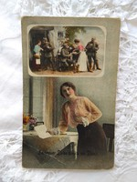Antik I. világháborús fotólap/képeslap, katona és kedvese, katonák