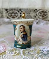 XIX. századi Capodimonte Napoleon kávés csésze, gyűjtői darab, jelzetlen