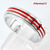 Extra curiosity! Genuine 925 sterling unisex silver ring with 2in1 fire enamel strip 5,20g !! (21Mm)