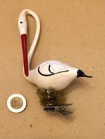 Régi retro  , üveg Karácsonyfadísz gólya nagy méretű