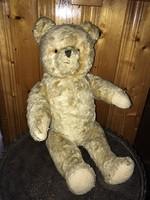 Cute old retro straw stuffed teddy bear 49 cm