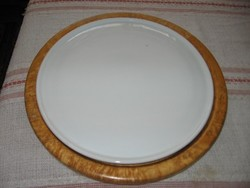 Antique 30 cm cake tray, cake bowl in wooden tray