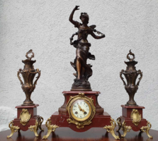 Set of 3 antique sculptural French fireplace clocks