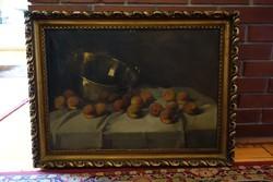Barackok réz habüsttel hatalmas olaj asztali csendélet 1920 körül