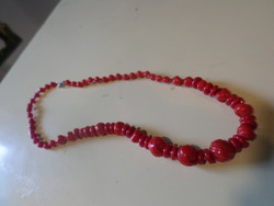 Retro necklace made of 50 Cm very red glass beads.