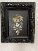 Különleges festett ón virágcsokor fa keretben.