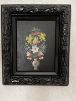 Special painted tin bouquet in wooden frame.
