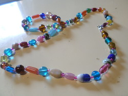 70 cm, very colorful and cheerful necklace made of handcrafted glass beads.