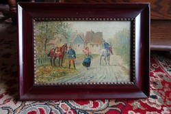Horse hussars leaving are still courting a little oil painting around 1920