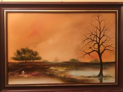 An oil painting of a lonely tree from berecz rita.