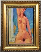 Tibor Vöröss' (1911-1999) nude painting with an original guarantee from the 50's!