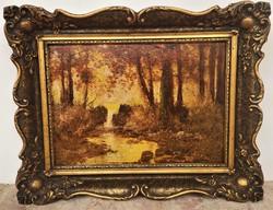 László Neogrády (1896 - 1962) forest detail c. Oil painting with original guarantee!