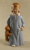 Signed glazed ceramic little girl with teddy bear 573