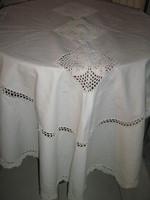 Wonderful handmade crochet insert with lacy crochet edge antique elegant oval linen tablecloth