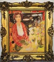 Tibor Vöröss (1911-1999) painting of life c with the original guarantee of the 60's!