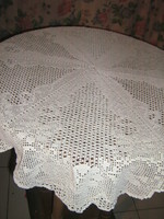 Dreamy white handmade crochet floral round lace tablecloth
