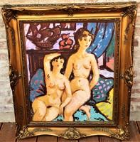 Tibor Vöröss (1911-1999) nts painting with the original guarantee of the 60's!