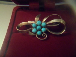Silver brooch / turquoise