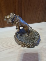 Eclectic bronze lion statue with art deco tail