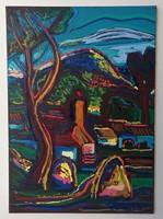 István Kozma (1937-2020): view of Nagybánya with the cross-mountain. Marked oil painting.