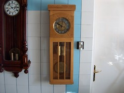 Antique art deco wall clock, ash case, half percussion, gustaw becker structure, excellent condition, flawless