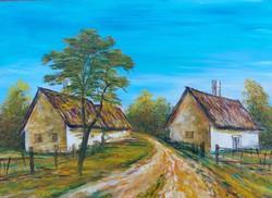 Balaton Uplands houses - landscape (48x36 cm)