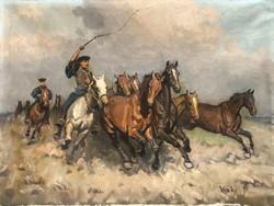 János Viski (1891-1984) herding c. 60X80 cm oil painting