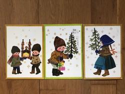 Aranyos Karácsonyi képeslap - Sóti Klára grafika   -  ár / db